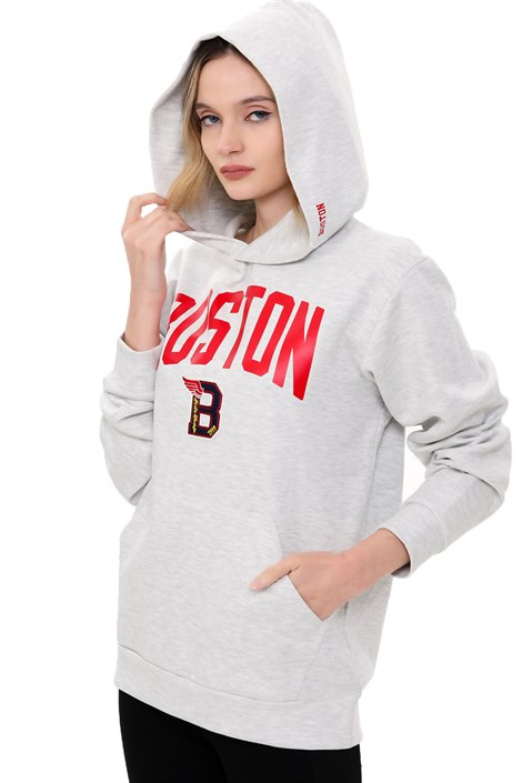 Kadın ''BOSTON RED'' Gri Kapüşonlu Oversize Sweatshirt